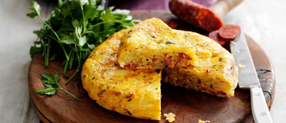 Easy Spanish Potato Tortilla with Chorizo and Parsley