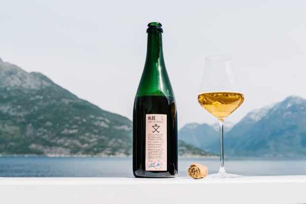 Une bouteille de cidre et un verre à côté contre un lac