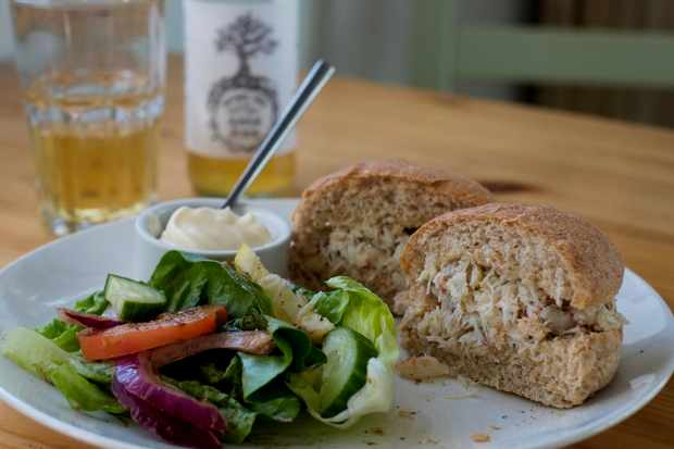 A crab sandwich on brown bread with a green side salad
