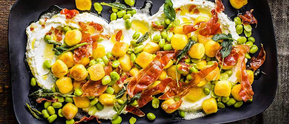 Pan Fried Gnocchi Recipe with Broad Beans, Parma Ham and Ricotta