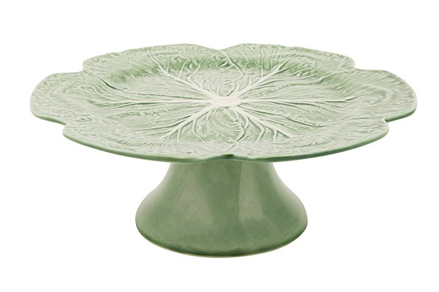 A green cake stand shaped like a cabbage