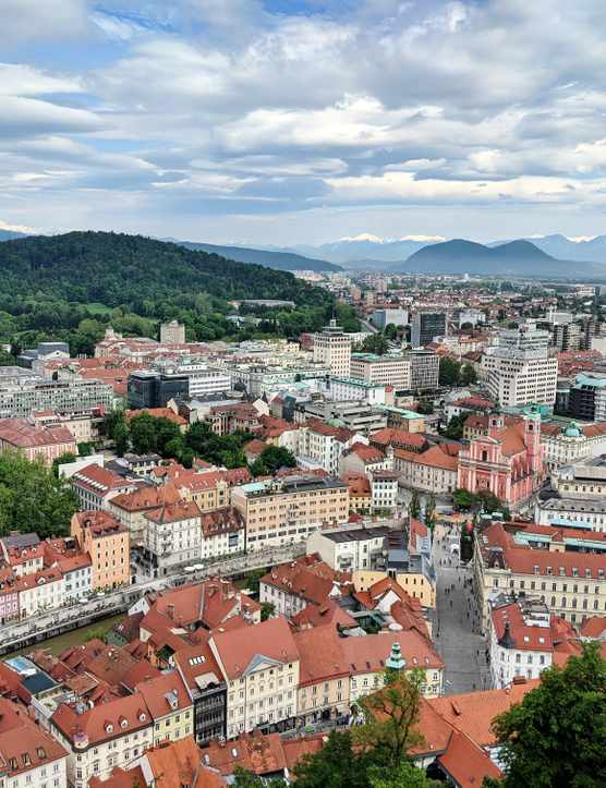 A view over Ljubljana Slovenia with mountains in the background