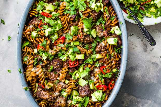 Diced Beef Pasta Bake Recipe with Beef Shin