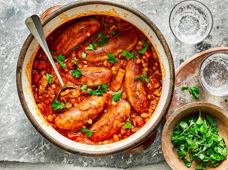Boston baked beans and sausages