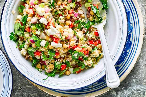 Chickpea Salad Recipe with Bulgar Wheat and Red Pepper
