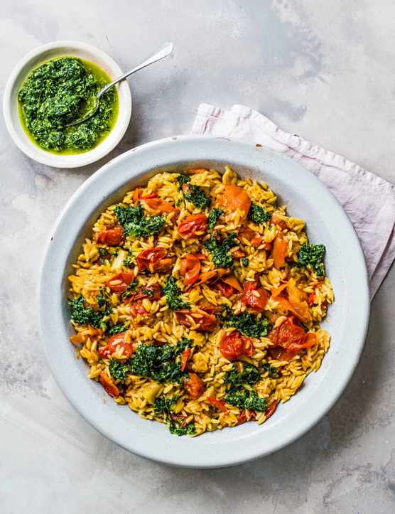 Easy Orzo Pasta Recipe with Roasted Tomatoes and Herb Salsa