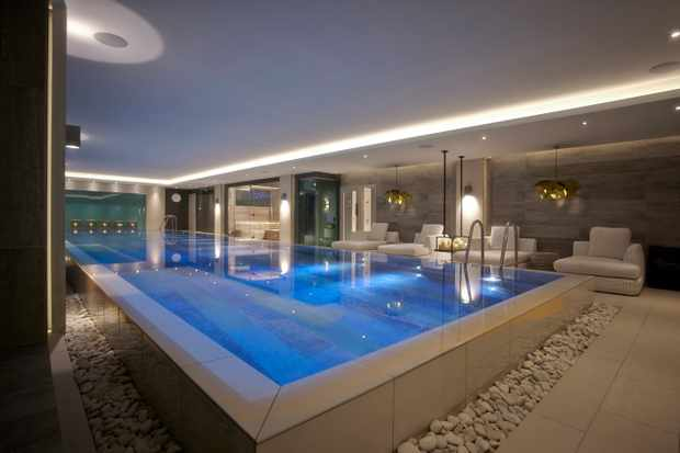 A large swimming pool inside