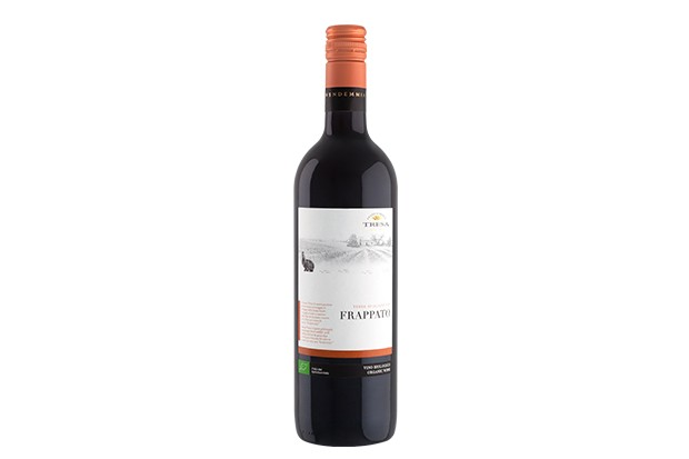A bottle of red wine with a white logo