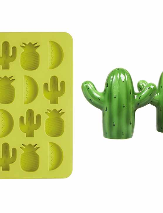 Four colourful green items of kitchenware