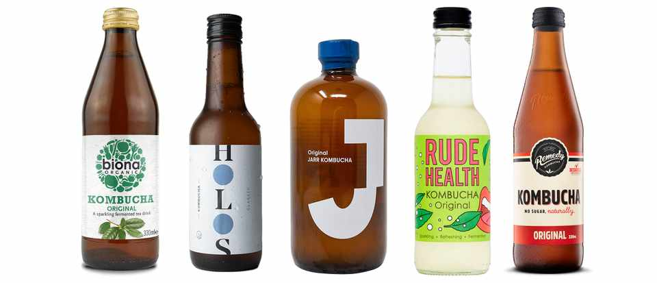 A line up of kombucha bottles