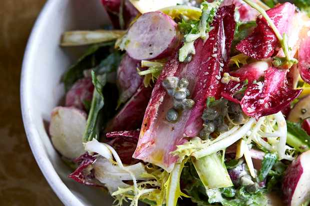 Radish Salad Recipe with Chicory and Anchovy Dressing