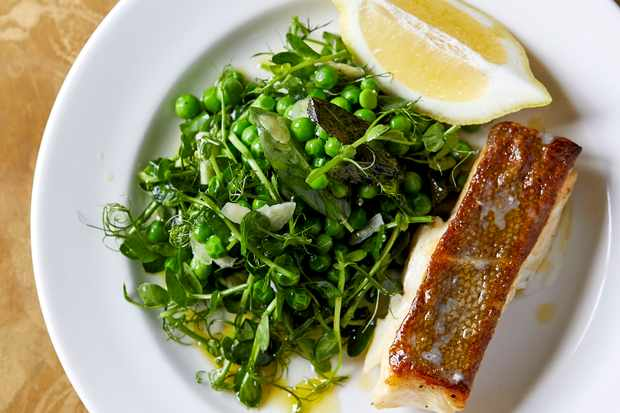 Roast Cod Recipe with Slow-Cooked English Peas and Shoots