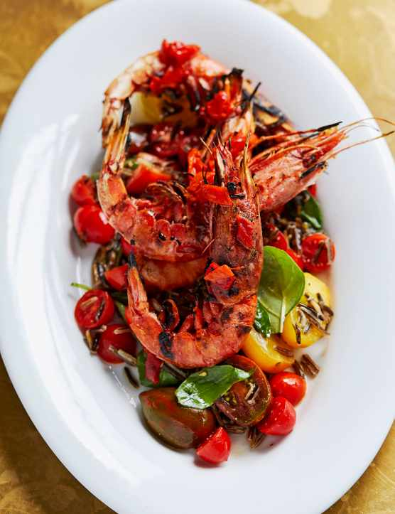 Chargrilled Tiger Prawns Recipe with Black Rice and Roast Chilli Salsa