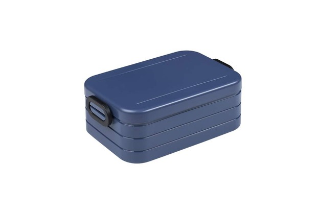 A navy blue lunch box