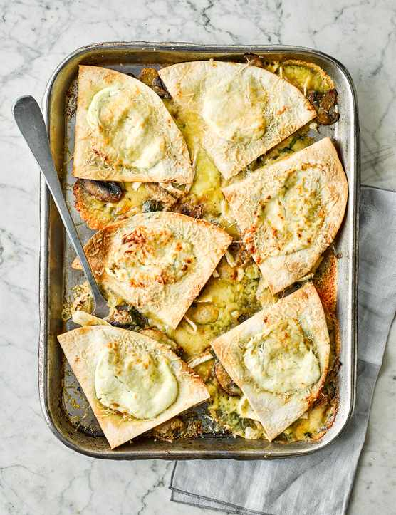 Vegetarian Savoury Pancakes Recipe with Garlic Mushroom and Brie