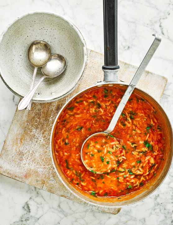 Vegan Tomato Soup Recipe with Rice and Lemongrass