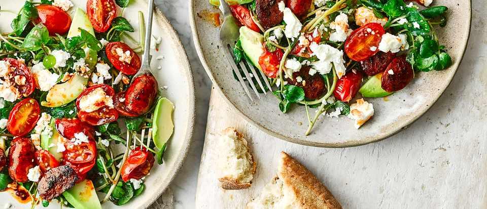 Warm Chorizo Salad Recipe with Avocado and Feta
