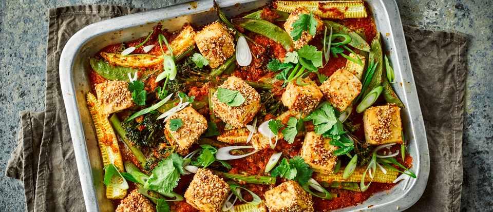 Baked Tofu with Kimchi Sauce Recipe