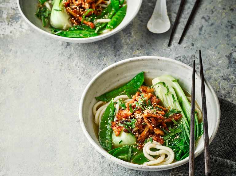 Miso and chilli chicken noodle soup
