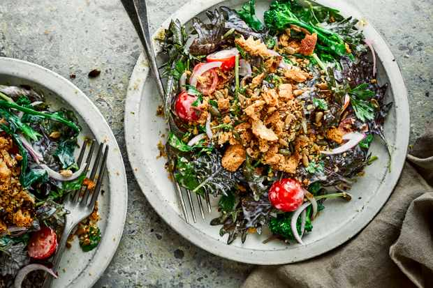 Healthy Vegetarian Salad Recipe with Tahini Dressing
