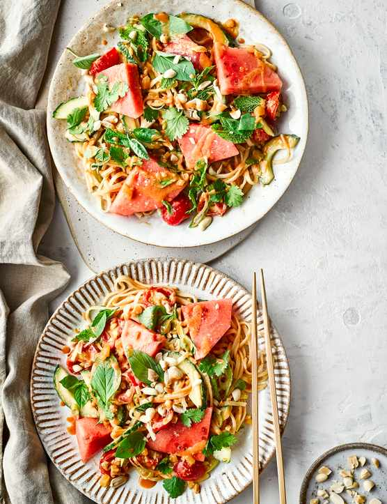 Thai Peanut Noodle Salad Recipe with Watermelon and Herbs