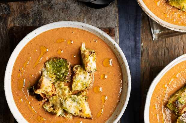 Gazpacho Recipe with Cheesy Croutons and Pesto