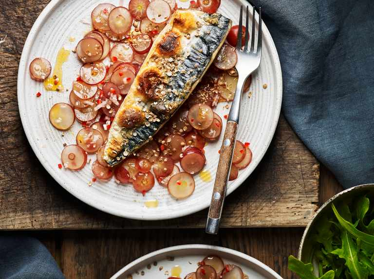 Mackerel with pickled grape salad