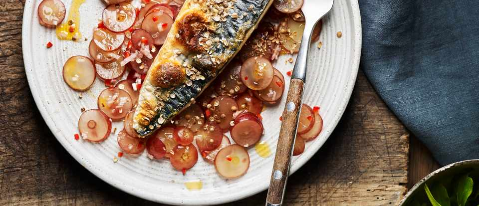 Easy Mackerel Recipe with Pickled Grape Salad