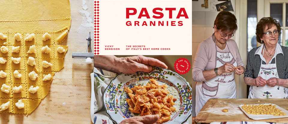 A photo of raw pasta being shaped, a photo of a book cover and a photo of two Italian grannies