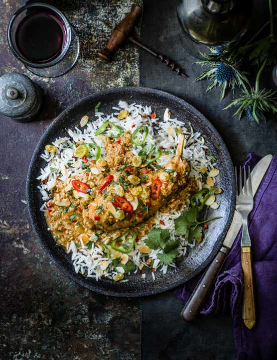 Korma Recipe with Rabbit, Golden Raisins and Wild Rice
