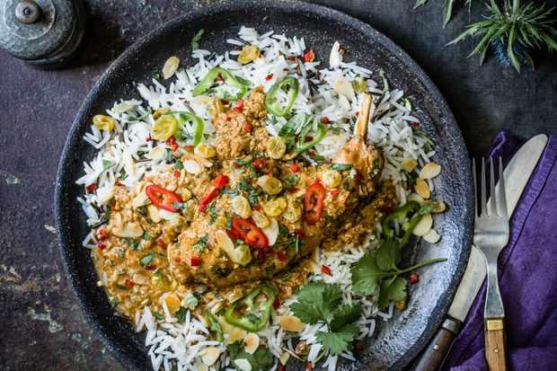 Korma Recipe with Rabbit, Golden Raisins and Wild Rice