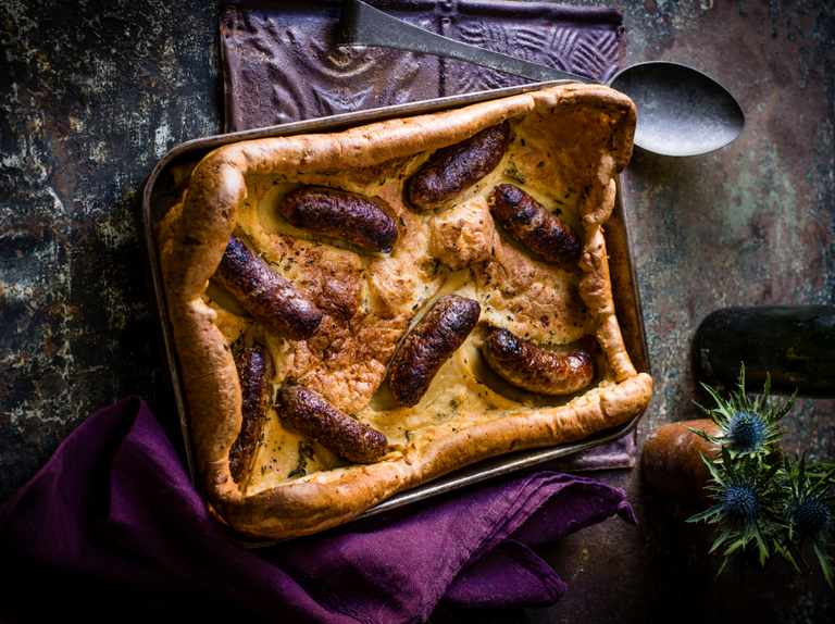 Wild boar sausage toad in the hole