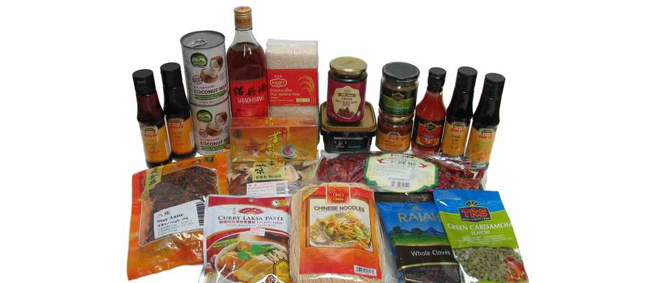 Lots of Chinese foods in bottles and packages from Wing Yip
