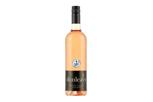 A bottle of pale pink rose wine