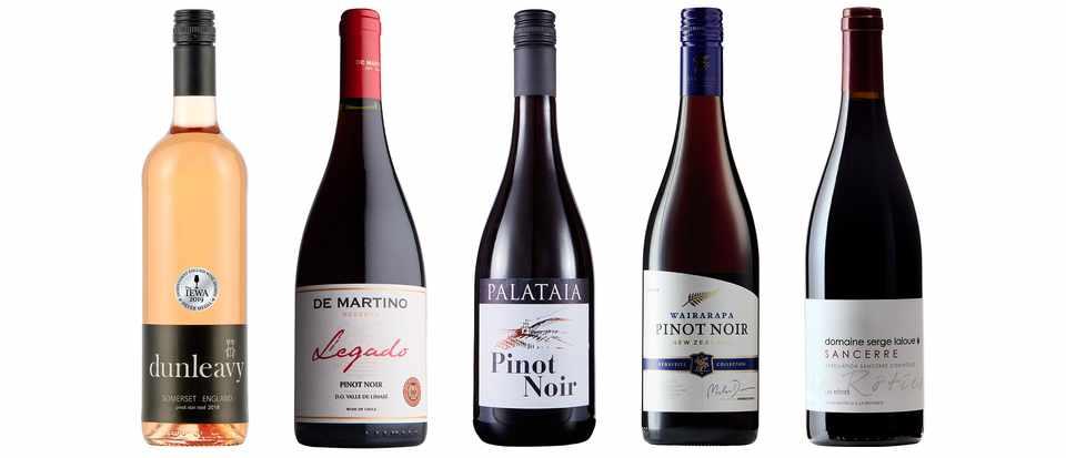 Five bottles of wine in a row