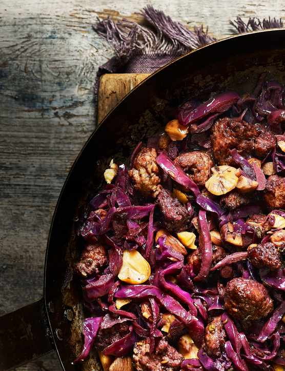 Sausages Recipe with Braised red Cabbage and Chestnuts