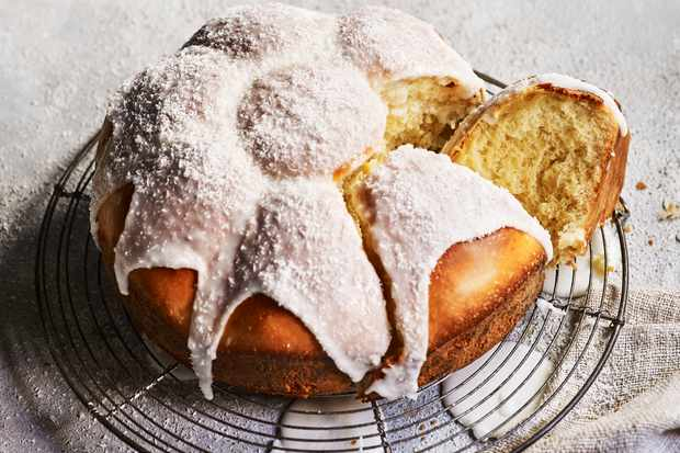 Sticky Iced Buns Recipe with Coconut