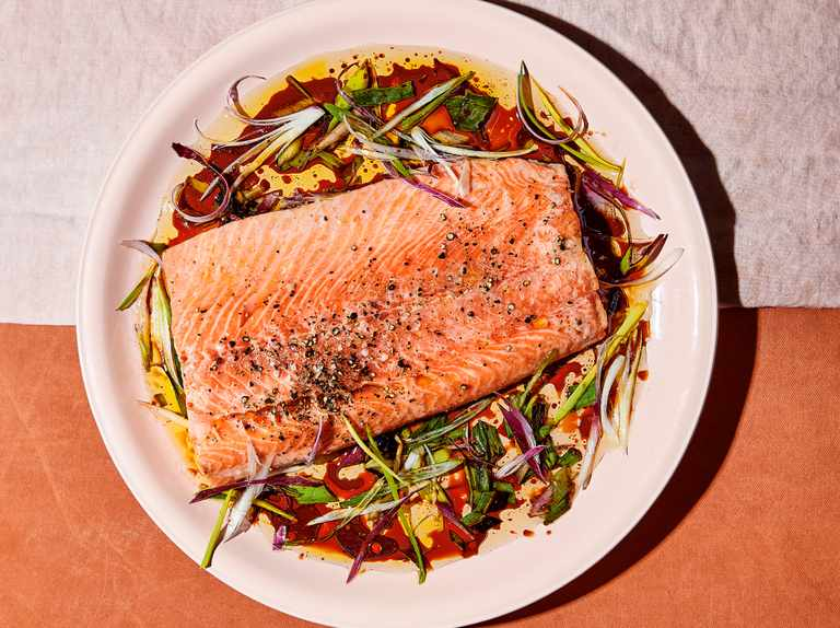 Alison Roman's salmon with soy and citrussy charred spring onion