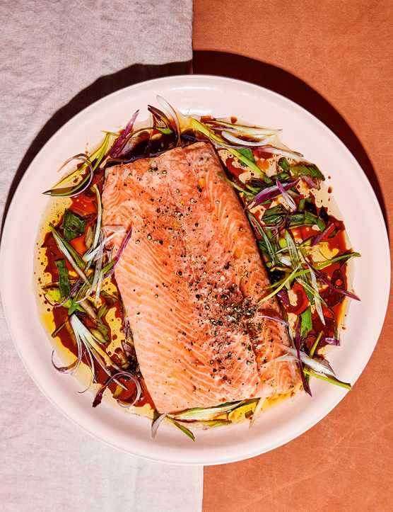 Soy Salmon Recipe with Charred Spring onions