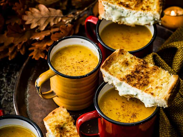 Creamy pumpkin soup with blue cheese and sage toasties