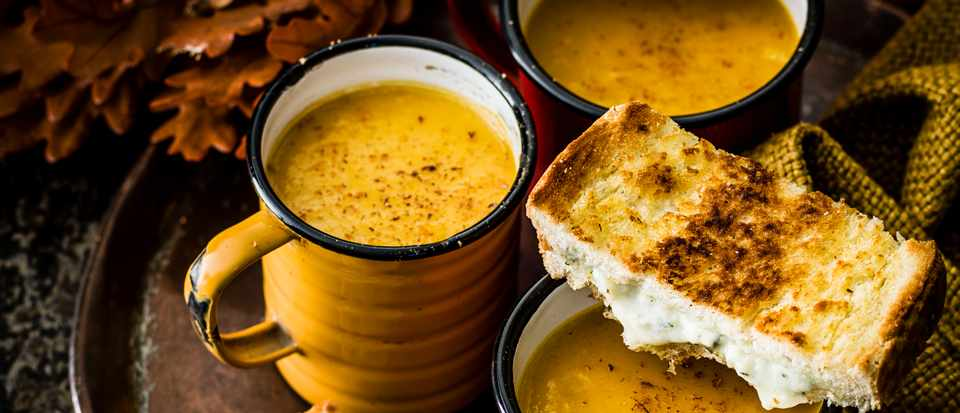 Creamy Pumpkin Soup Recipe with Blue Cheese Toasties