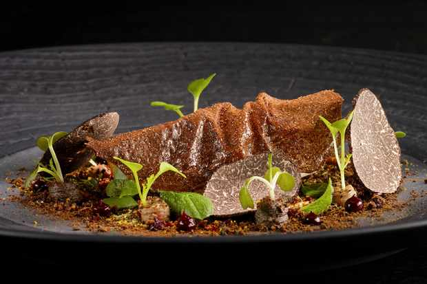 A dark plate with food and shavings of truffle on top
