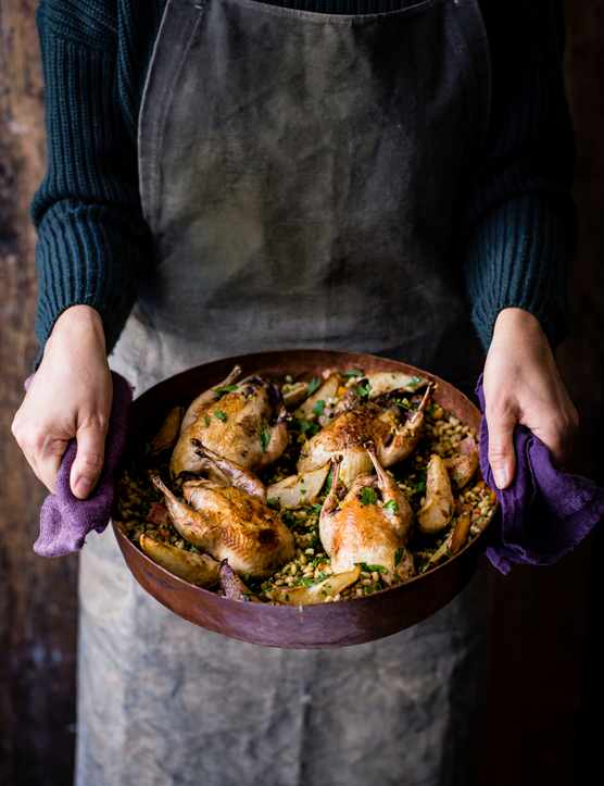 Roast Partridge Recipe with Pears and a Barley and Roots Salad
