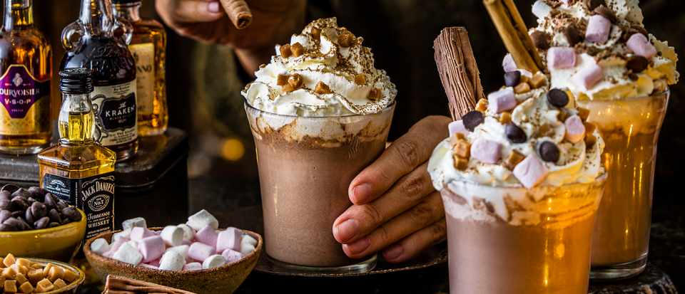 Luxury hot chocolate with mix 'n' match toppings