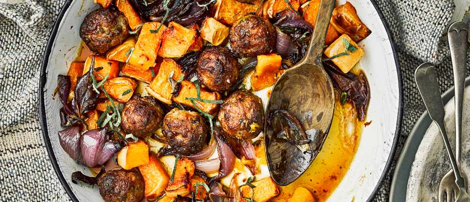 Meatball Traybake with Sausages and Butternut Squash