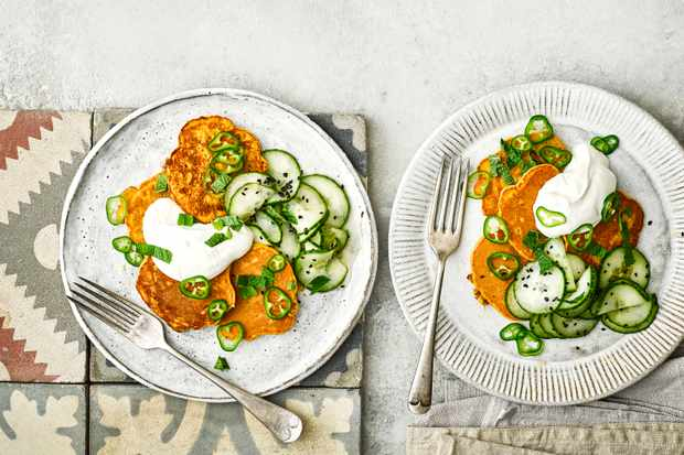 Chickpea Fritters Recipe with Yogurt, Green Chilli and Cucumber Salad