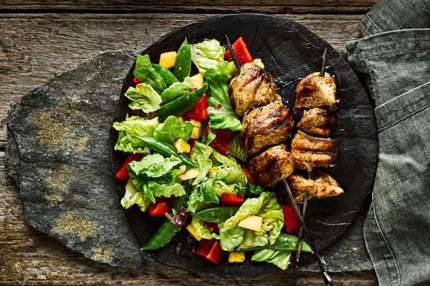 Jerk Chicken Skewers Recipe with Mango Salad