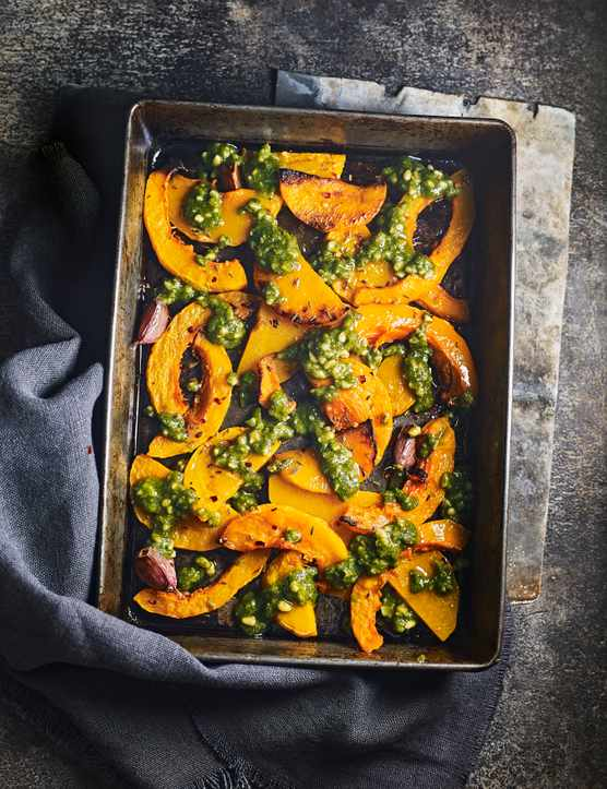 Roasted Butternut Squash Wedges Recipe with Sage Pesto