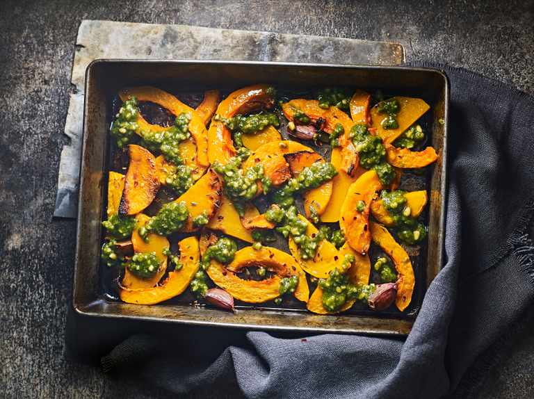 Roasted butternut squash wedges with sage pesto