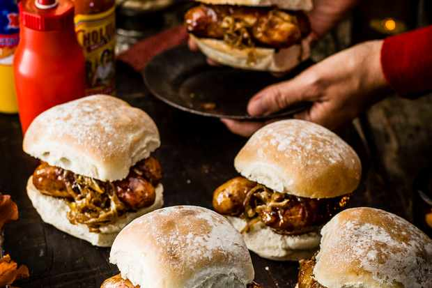 Easy Sausage Bap Recipe with Caramelised Onions